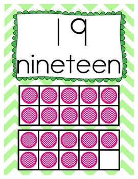 Chevron Number Posters 11 - 20 in Green, Orange, Blue, & Yellow