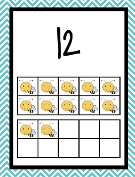 Chevron Number Posters~ Bee Themed