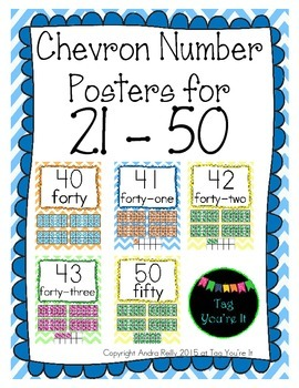 Chevron Number Posters for 21-50 in blue, yellow, green, & orange