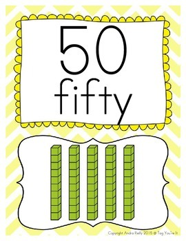 Chevron Number Posters for 50 - 100 in Blue, Yellow, Green, & Orange