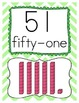 Chevron Number Posters for 50 - 100 in Blue, Yellow, Green