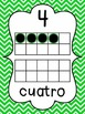 Chevron Number Posters in Spanish {0-20} With Number, Tens Frame & Number Word