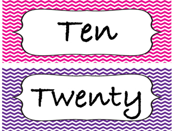 Chevron Number Posters with Number Word 10-120 (skip count