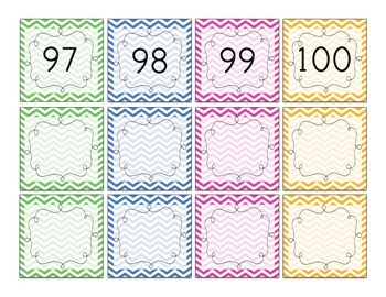 Chevron Number Squares - Student numbers, calendar numbers, 100s chart numbers!