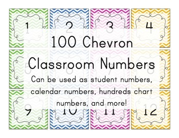 Chevron Number Squares - Student numbers, calendar numbers