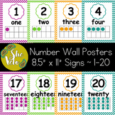Chevron Number Wall Posters 1-20 with Numeral, Word, & Ten Frame