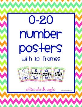 0-20 Number Posters {Rainbow Chevron}