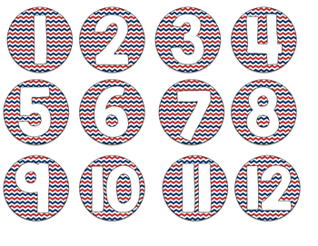 Chevron Numbered Circle Labels (Nautical)