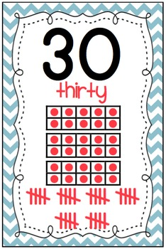 Chevron Numbers 0-30*** Classroom Display with Ten Frames AND Tally Marks