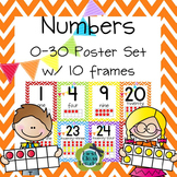 Ten Frame Posters (0-30) in 3 sizes (CCSS) - Chevron
