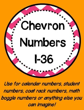 Chevron Numbers 1-36 (Hot Pink)