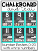 Numbers, Colors and Shapes Posters {Teal and Chalkboard Classroom Decor Theme}