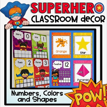 Super Hero Numbers, Colors and Shapes Posters