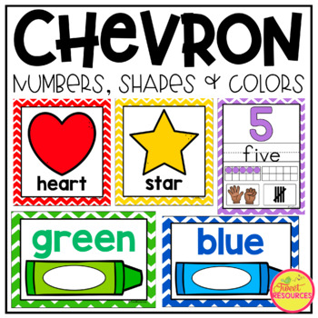 Numbers, Colors and Shapes Posters in Primary Colors Chevron Classroom Decor