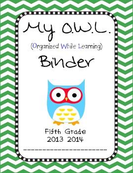 Chevron OWL Binder Fifth Grade