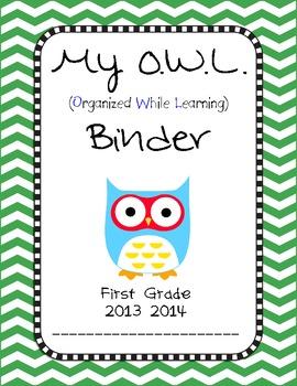 Chevron OWL Binder First Grade