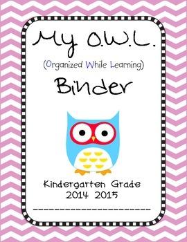 Chevron OWL Binder Insert Kindergarten