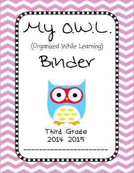 Chevron OWL Binder Third Grade