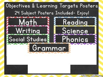Chevron Objectives & Learning Targets Signs {Posters}
