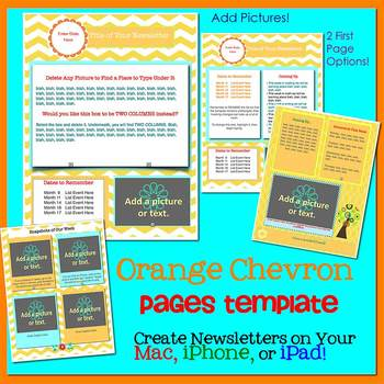 Pages - CHEVRON ORANGE - Newsletter Template - Create on iPads, iPhones, & Macs