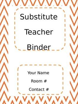 Chevron Orange Substitute Teacher Binder