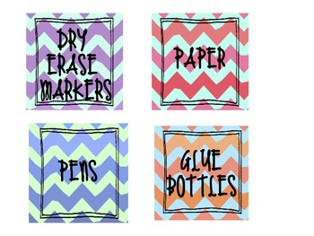 Chevron Organization Labels- School Supplies