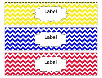 Chevron Organizing Drawer Labels Multi Color (Yellow/Blue/Red) - Editable