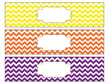Chevron Organizing Drawer Labels Multi Color (Orange/Purple/Yellow) - Editable