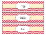 Chevron Organizing Drawer Labels - Pink - Editable