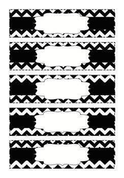 Chevron Organizing Drawer Labels - Small - Black & White - Editable