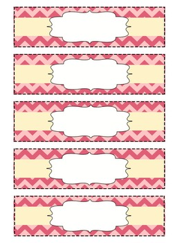 Chevron Organizing Drawer Labels - Small -Pink - Editable