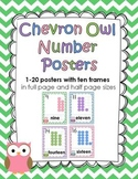 Chevron Owl 1-20 Number Posters with ten frames