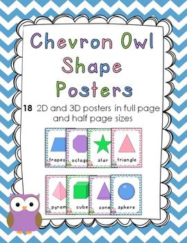 Chevron Owl 2D and 3D Shape Posters