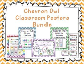 Chevron Owl Classroom Posters Bundle