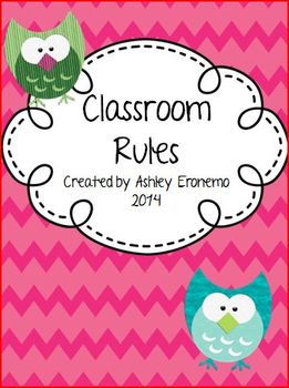 Chevron Owl Classroom Rules