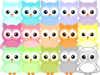 Chevron Owl Clipart ~ Pastel Colors