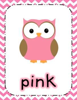 Chevron Owl Color Poster Set