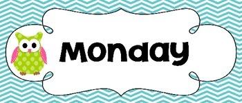 Chevron & Owl Days of the Week PRINT *Freebie*
