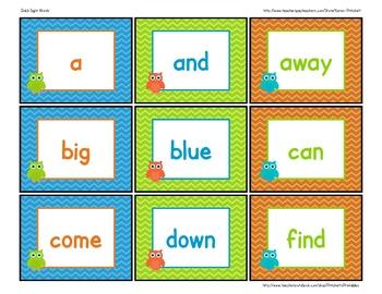 Chevron Owl Dolch sight word flashcards or word wall chevron theme
