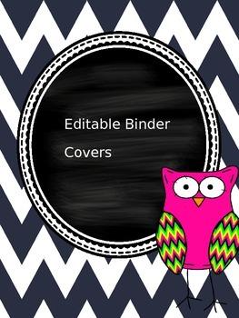 Chevron Owl Editable Binder Covers