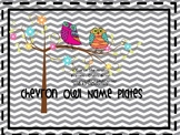 Chevron Owl Editable Name Plates