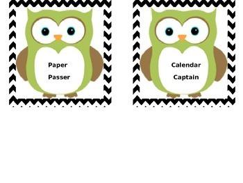 Chevron Owl Job Chart