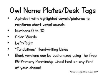 Chevron Owl Name Plates/Desk Tags