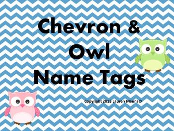 Colorful Chevron & Owl Name Tags