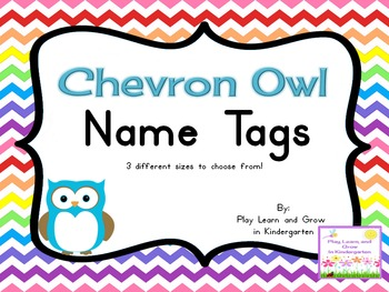 Chevron Owl Name Tags and labels (editable)