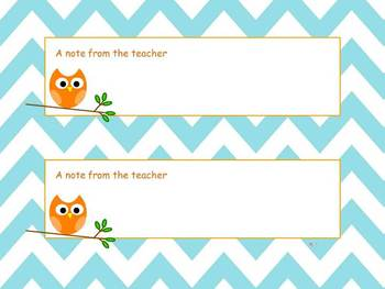 """Chevron Owl """"Note from the teacher"""" (Two on a page)"""