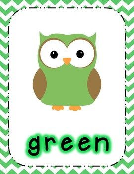 chevron owl posters bundle shapes colors numbers