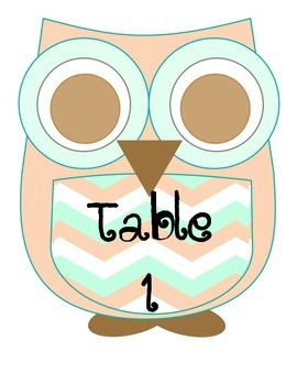 Chevron Owl Table Numbers