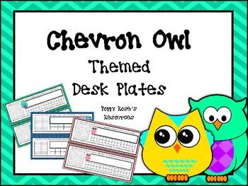 Chevron Owl Themed Desk Plates