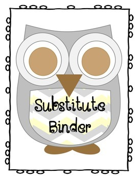 Chevron Owl Themed Substitute Binder Cover